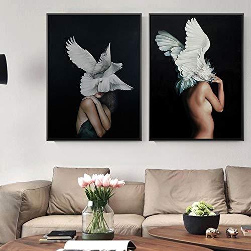 ZHQHYQHHX Mural 2 Stück/Set Body Art White Wings Dekorative...