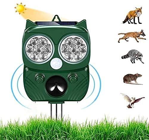 Ultraschall Abwehr mit Solarbetrieb und Blitz gegen Katzen,...