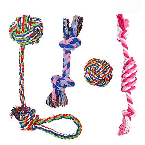 BETOY Hundeseile Hundespielzeug, 4 Stück Hunde Kauspielzeug Seil...