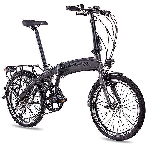 CHRISSON 20 Zoll E-Bike City Klapprad EF1 grau - E-Faltrad mit Bafang Nabenmotor 250W, 36V und...