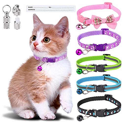 Simpeak 5 Stück Katzenhalsband mit Glocke, reflektierende Katzen...