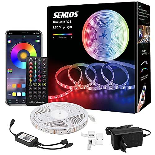 Semlos LED Strip, 5M Bluetooth Wasserdicht RGB Musik LED...