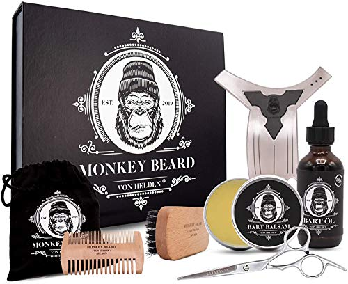MONKEYBEARD® Bartpflege Set (9-teilig): Bart Set mit Balsam...