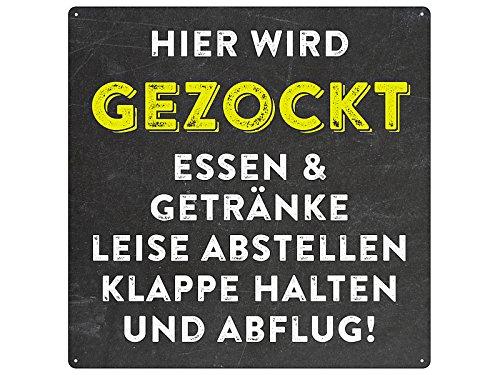 20x20cm Türschild HIER WIRD GEZOCKT Spielzimmer Blechschild...