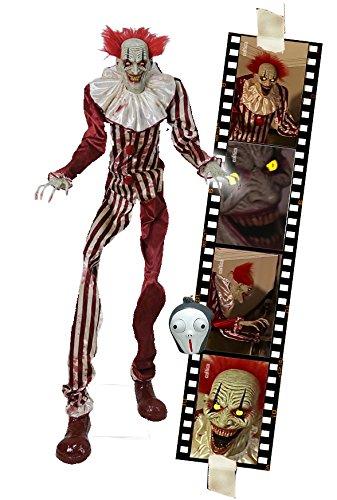 Horror Zombie Clown 2 Meter Halloween Puppe Roboter Licht Sound...