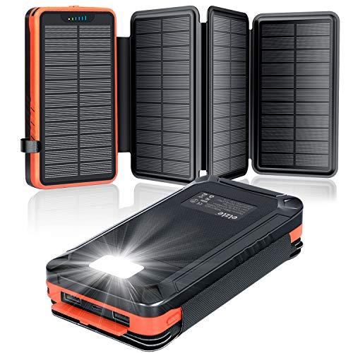 elzle Solar PowerBank 26800mAh, Solar Ladegerät mit 4...