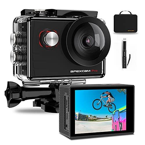 Apexcam Pro Action Cam 4K 20MP Sportkamera WiFi Unterwasserkamera...