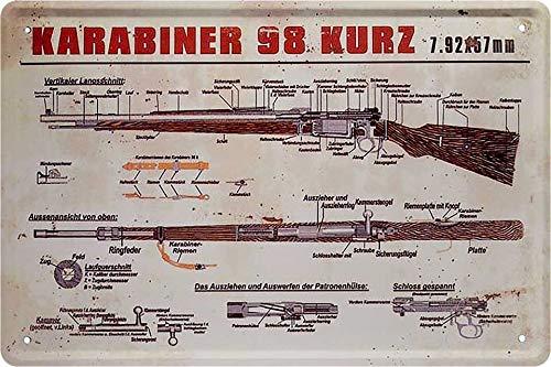 Blechschilder Deutscher Karabiner 98 Kurz Deko Metallschild...