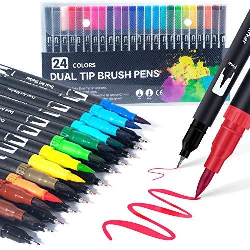 Dual Brush Pen Set: Filzstifte 24 Farben Pinselstifte Marker...