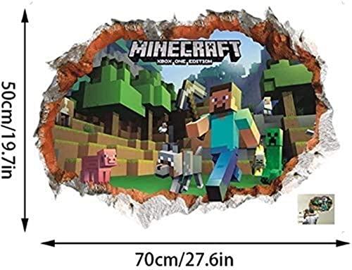 HREMMP Mauer Minecraf.T Cartoon Spiel 3D Kindergarten Wandbild...