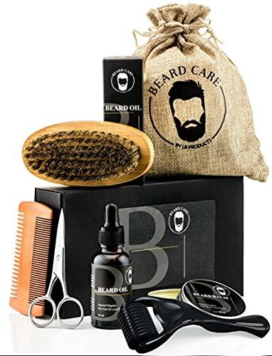 LBProducts® Beard Growth Kit Serum Öl- Bartroller 0.5mm für...