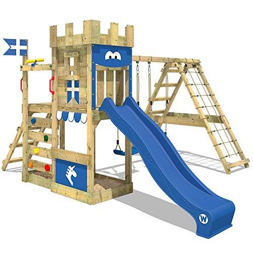 WICKEY Spielturm Ritterburg DragonFlyer mit Schaukel & blauer...