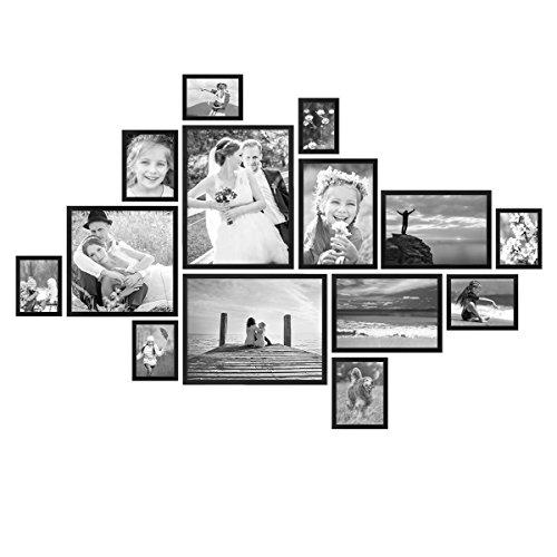 PHOTOLINI 14er Bilderrahmen-Set Modern Schwarz aus MDF 10x15 bis...