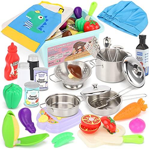 TwobeFit Küchenspielzeug Zubehör Kinderküche Kochgeschirr,...