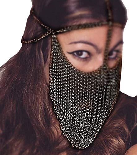 HJG Maskerade Maske für Frauen, Metall Stirnband Quasten...