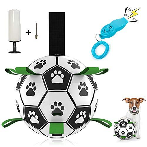 WeChip Hundespielzeug Ball,Fußballball mit Greiflaschen,...