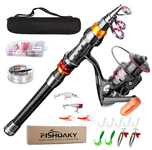 FISHOAKY Angelrute Teleskoprute, Carbon Fiber Fishing Rod...