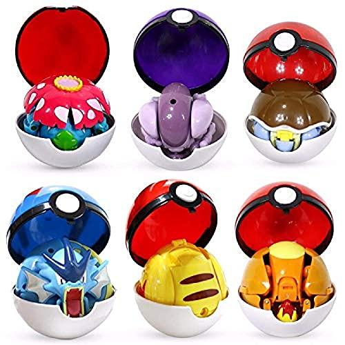 Qwead 6 Stück Pokemon Figuren Spielzeug Ball Variante Spielzeug...