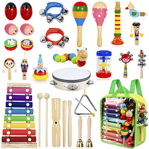 AILUKI 27 Stück Musikinstrumente Musical Instruments Set, Holz...