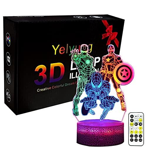 Yelyung 3D Illusion Nachtlicht Superheld Kinder Bettzeit...