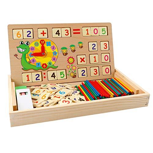 Babyhelen Montessori Mathe Spielzeug aus Holz Lernbox Zahlenlernspiel mit Zeichnung...
