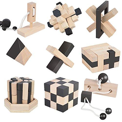 B&Julian ® 3D IQ Holzpuzzle 9 Mini Puzzle Set aus Holz...