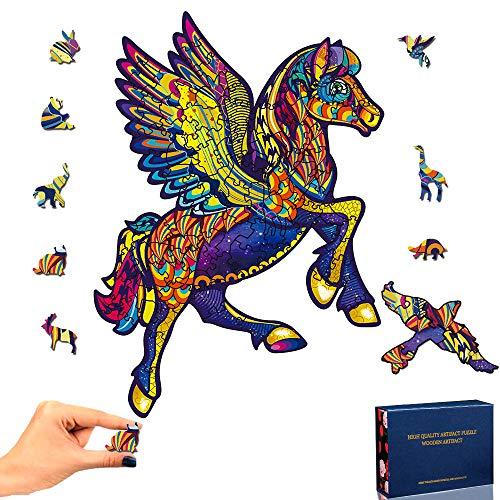Holzpuzzle Erwachsene Kinder, 3D Puzzle Holzpuzzle Tiere Pegasus...