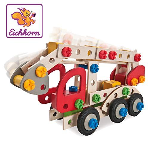 Eichhorn 100039085 - Constructor Feuerwehrauto, 155 tlg., Holz-Konstruktions-Set, 3...