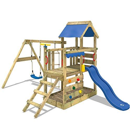 WICKEY Spielturm Klettergerüst TurboFlyer mit Schaukel & blauer Rutsche, Kletterturm...