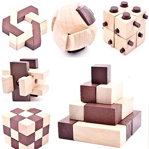 B&Julian ® 10 Knobelspiele Spielzeug 3D IQ Puzzle Holz Spiele...