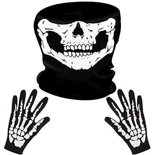 LYTIVAGEN Schädel Gesichtsmaske mit 1 Paar Skelett Handschuhe...