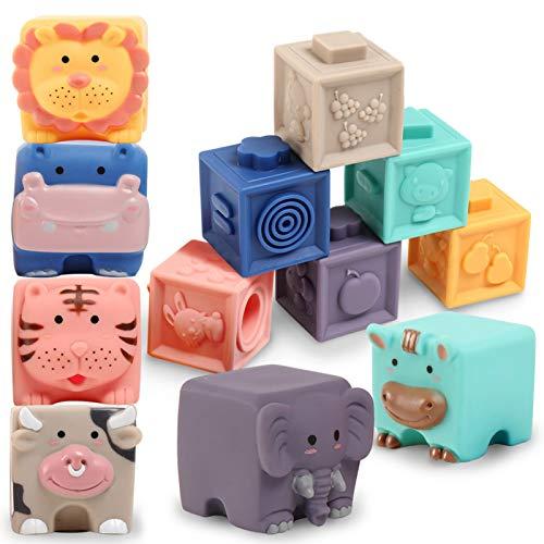 Baby Bausteine Spielzeug ab 12 Monate-Weiche Quetschbare Blöcke,...