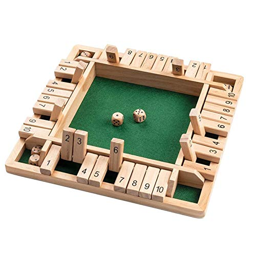 Taloit Holz Brettspiel, 4-Spieler Shut The Box Würfelspiel Mathematik Traditional Pub Board...