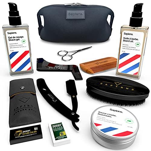 Bartpflege set mit Rasiermesser für Männer Sapiens BarberShop -...