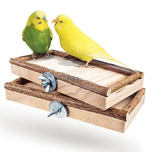Vogelgaleria® 2er Set Sitzbretter 10x20cm mit Natur Holz...