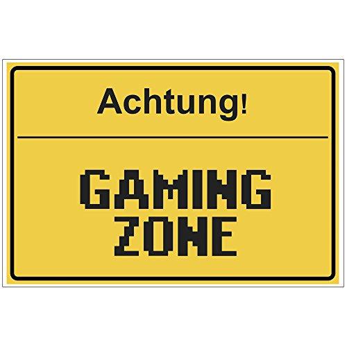 Fun-Schild Achtung! - Gaming Zone aus PVC Hartschaum Platte...
