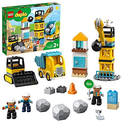 LEGO 10932 DUPLO Baustelle mit Abrissbirne, Bauset mit Spielzeuglastwagen, Kran und...