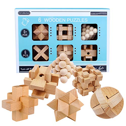 Tewerfitisme 6 Stück Holz Knobelspiele Set, Adventskalender...