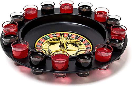 Relaxdays 10010182 Roulette Trinkspiel, Partyspiel mit Drehrad, Schnapsgläsern &...