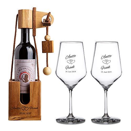 Casa Vivente Geschenkset zur Hochzeit – Weißweingläser und...
