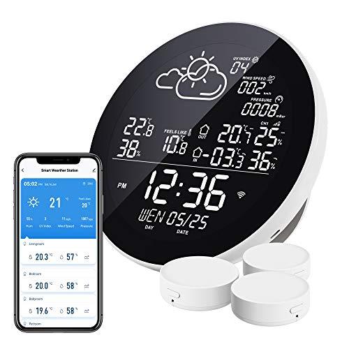 Eachen WLAN Wetterstation Funk mit 3 Außensensor Thermometer...