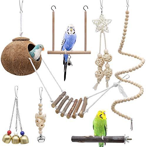 Yue Vogel Papagei Spielzeuge 7 Stück, Kokosnuss Vögel Käfig...