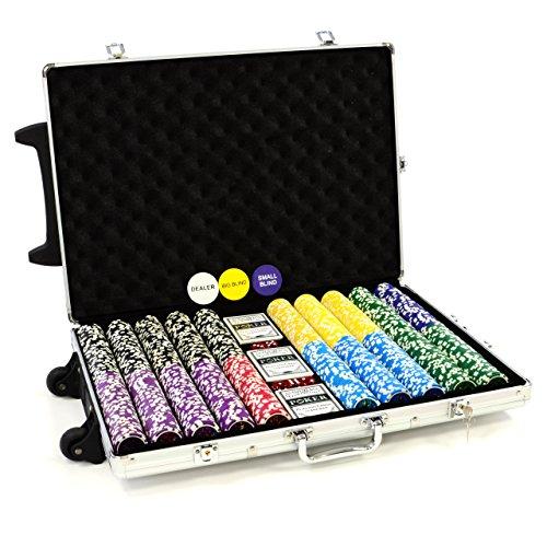 Trolley Pokerkoffer 1000 Chips Laser Pokerchips Poker Komplett...