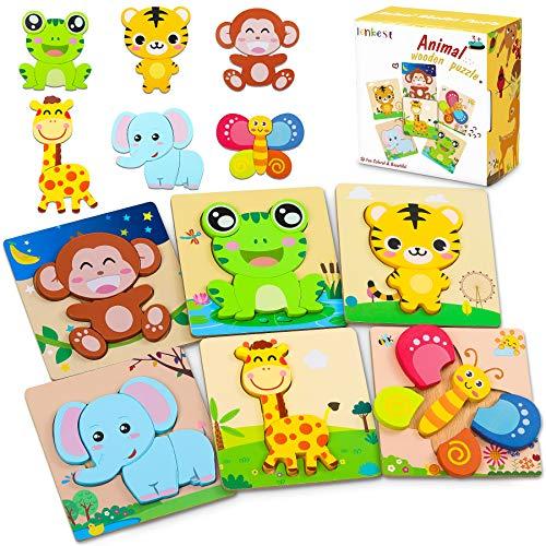lenbest 6 Pcs Kinder Holzpuzzle, Lebendiger Hintergrund Steckpuzzle Holz Montessori Spielzeug,...