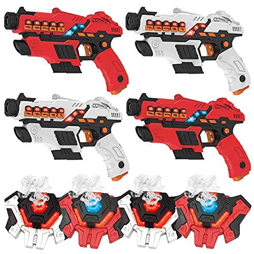 KidsFun Lasertag Set: 4 Laser Pistolen + 4 Wasserdampf Westen -...