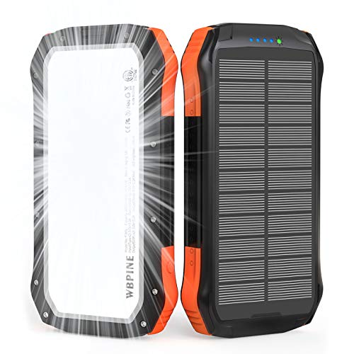WBPINE Solar Powerbank 20100mAh,Wasserdicht Solar Ladegerät mit...