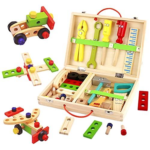 Werkzeugkoffer Kinder Holzspielzeug Werkzeugkasten-Kinderwerkzeug...