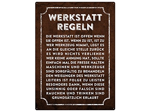 Metallschild 28x20cm WERKSTATT REGELN Wandschild Garage Hobbyraum...