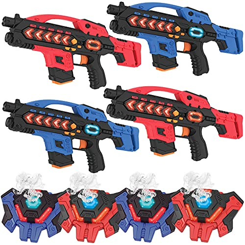 KidsFun Lasertag Set: 4 Laser Gewehre + 4 Laser Tag Wasserdampf...