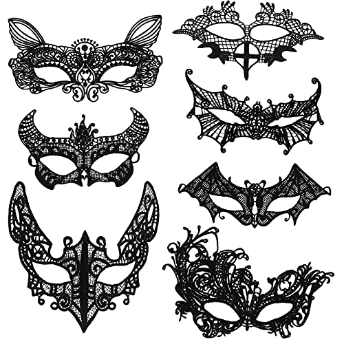 HOWAF 7 Stück Venezianische Maske Damen Spitze Maske Lace Maske...
